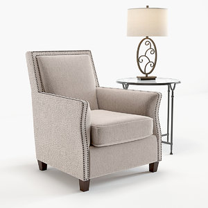 uttermost darick armchair table 3D model