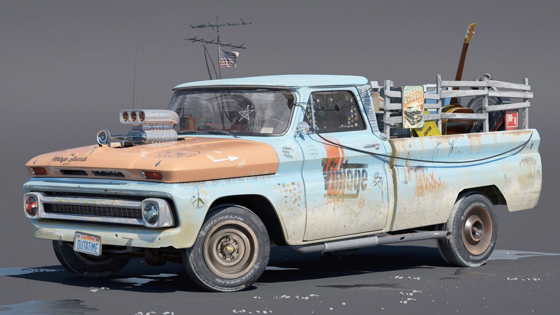 3D old cars custom c10