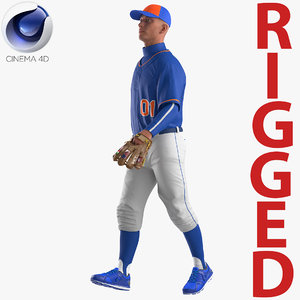 3D baseball player rigged generic model