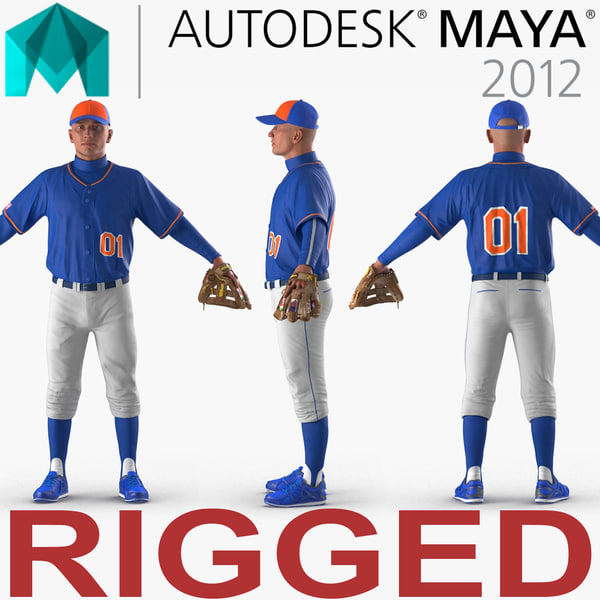 baseball player rigged generic model
