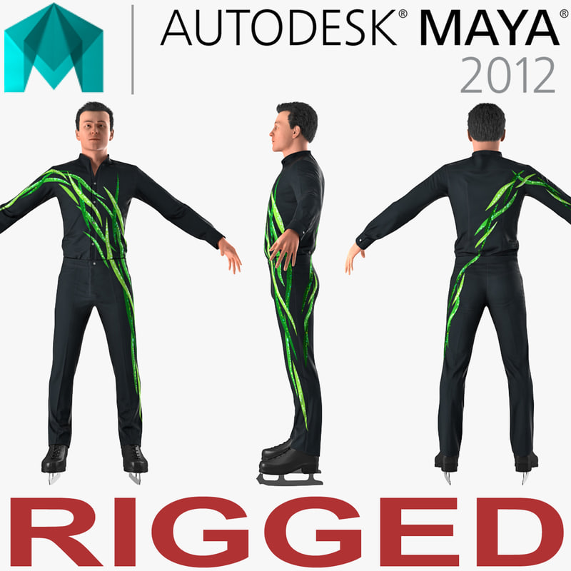male figure skater rigged model