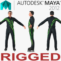 Male Figure Skater Rigged 2 for Maya