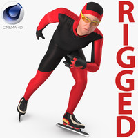 speed skater generic rigged 3D model
