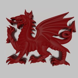 3D heraldic welsh dragon model