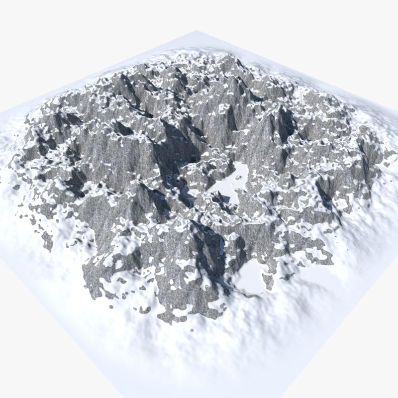 3D model mountain range snow