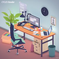 Office set in toon 3d style
