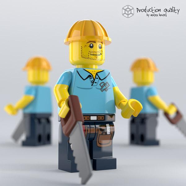 3D lego carpenter figure