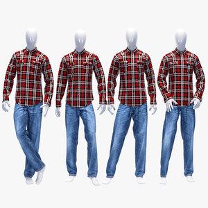 3D set jeans shirt