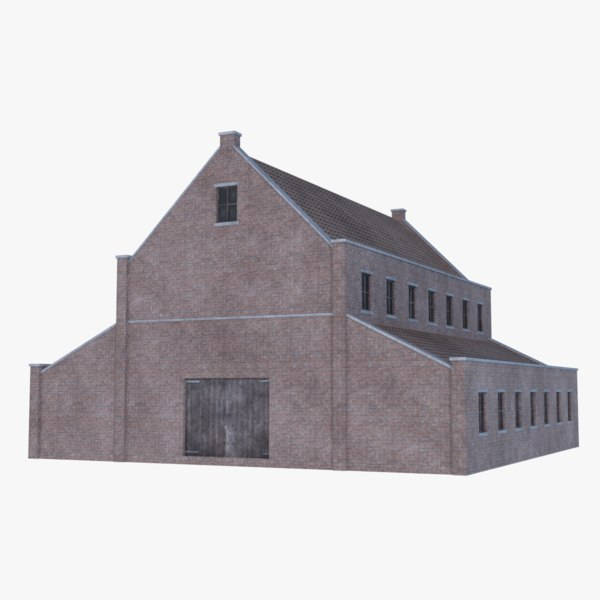 old brick barn 3D
