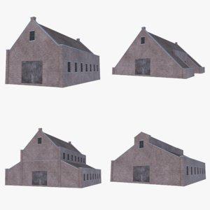 old brick barns 1 3D model