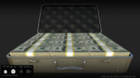 3D model briefcase cash