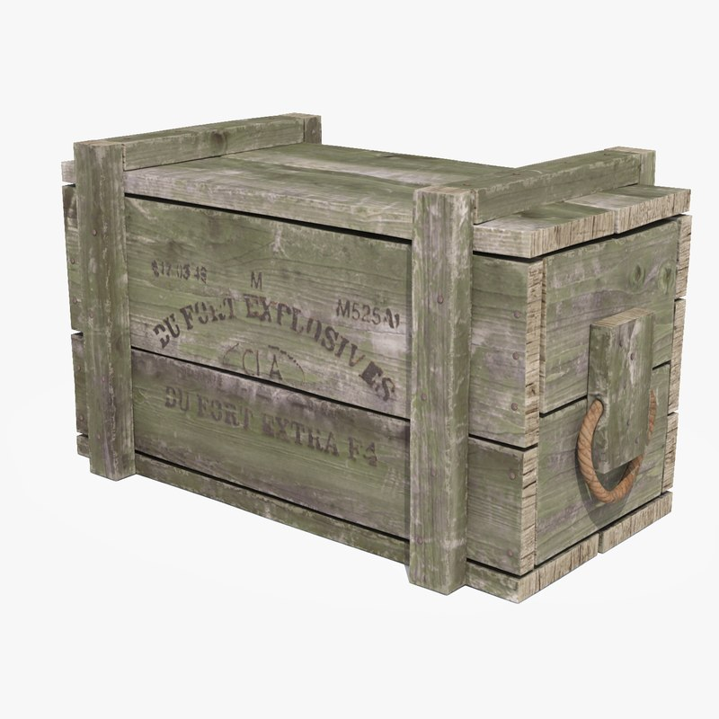 3D vintage green ammo crate