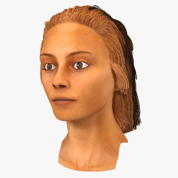 arab woman head 3D model