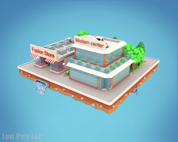 3D city block fashion stores model