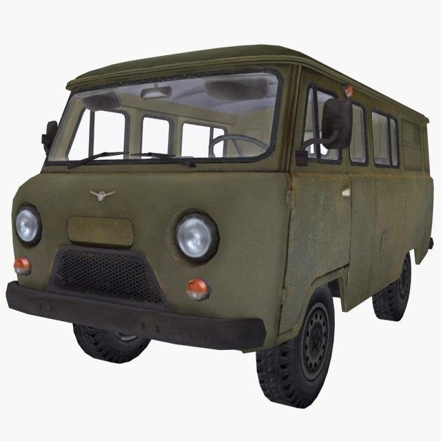 russian uaz 452 green 3D model