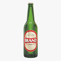 beer bottle brown green 3D