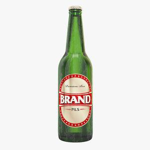 beer bottle brown green 3D