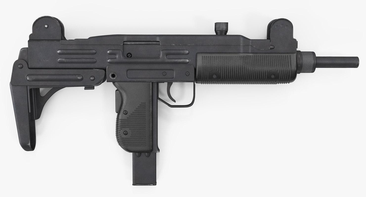 3D submachine gun uzi smg model