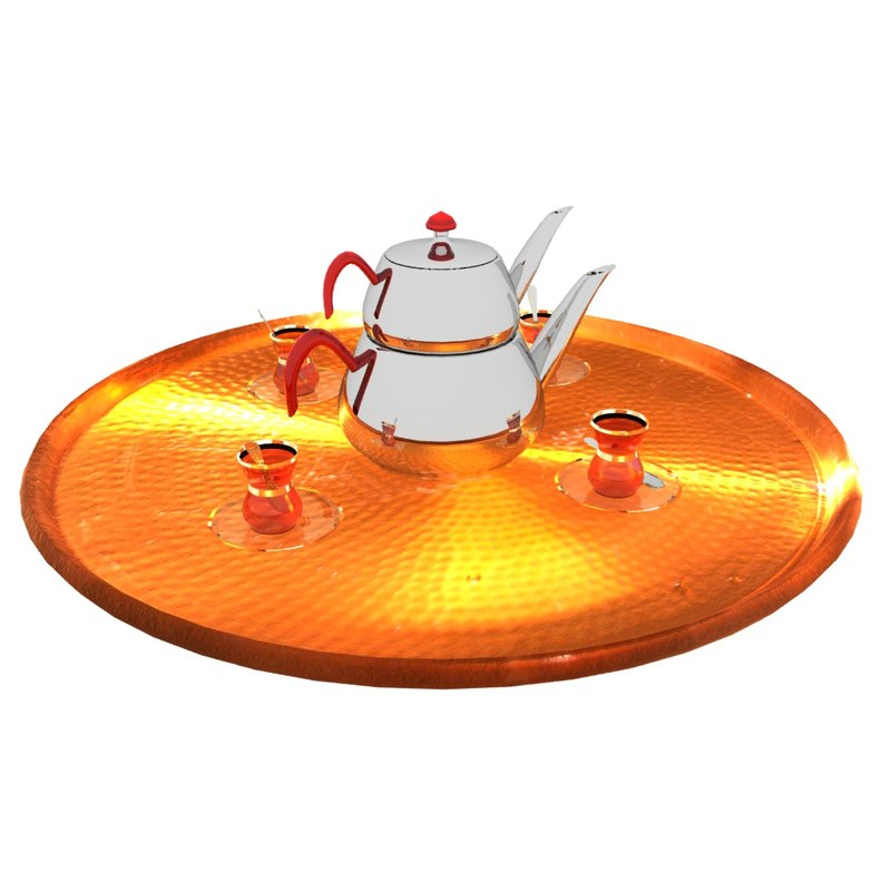 3D turkish tea tray