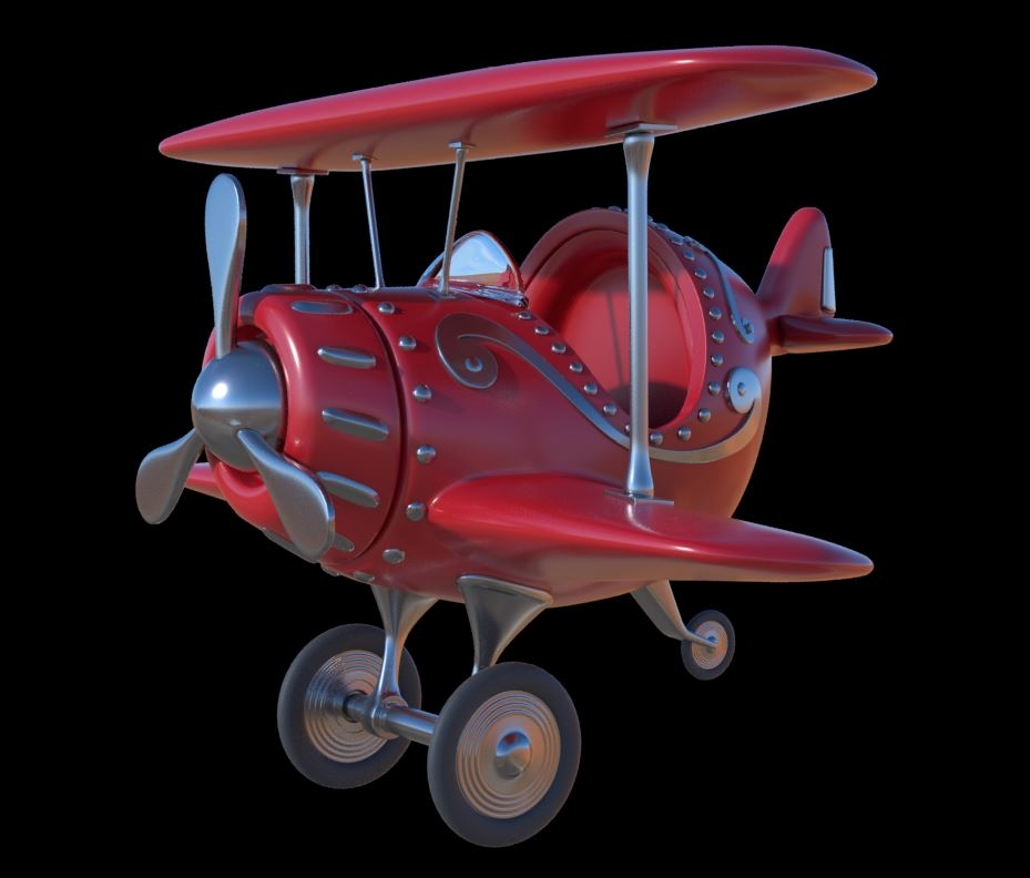 3D stylized cartoon plane