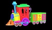 cartoon train 3D model