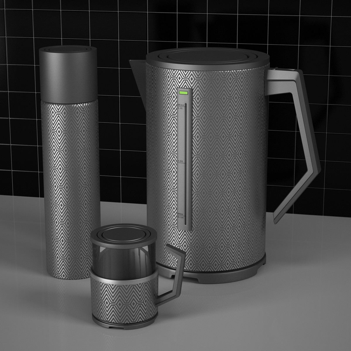 3D teapot thermos mug model