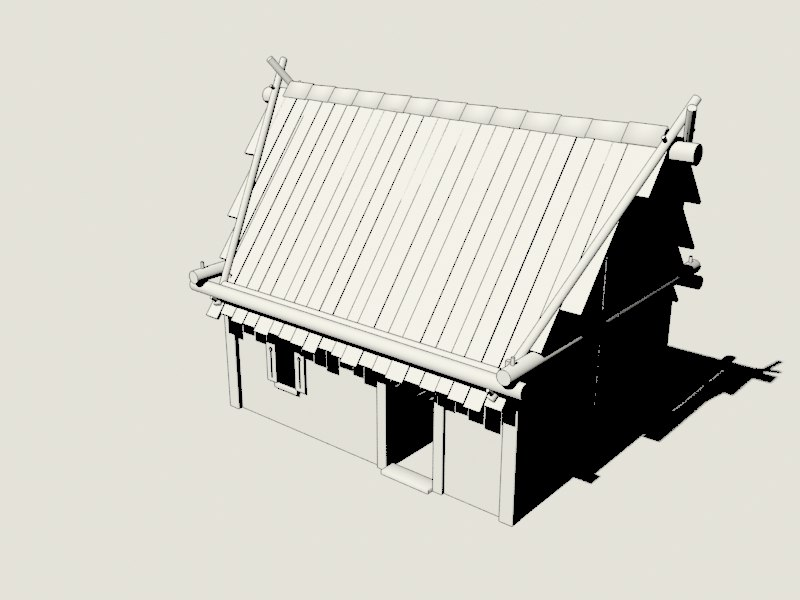 3D model simple old house