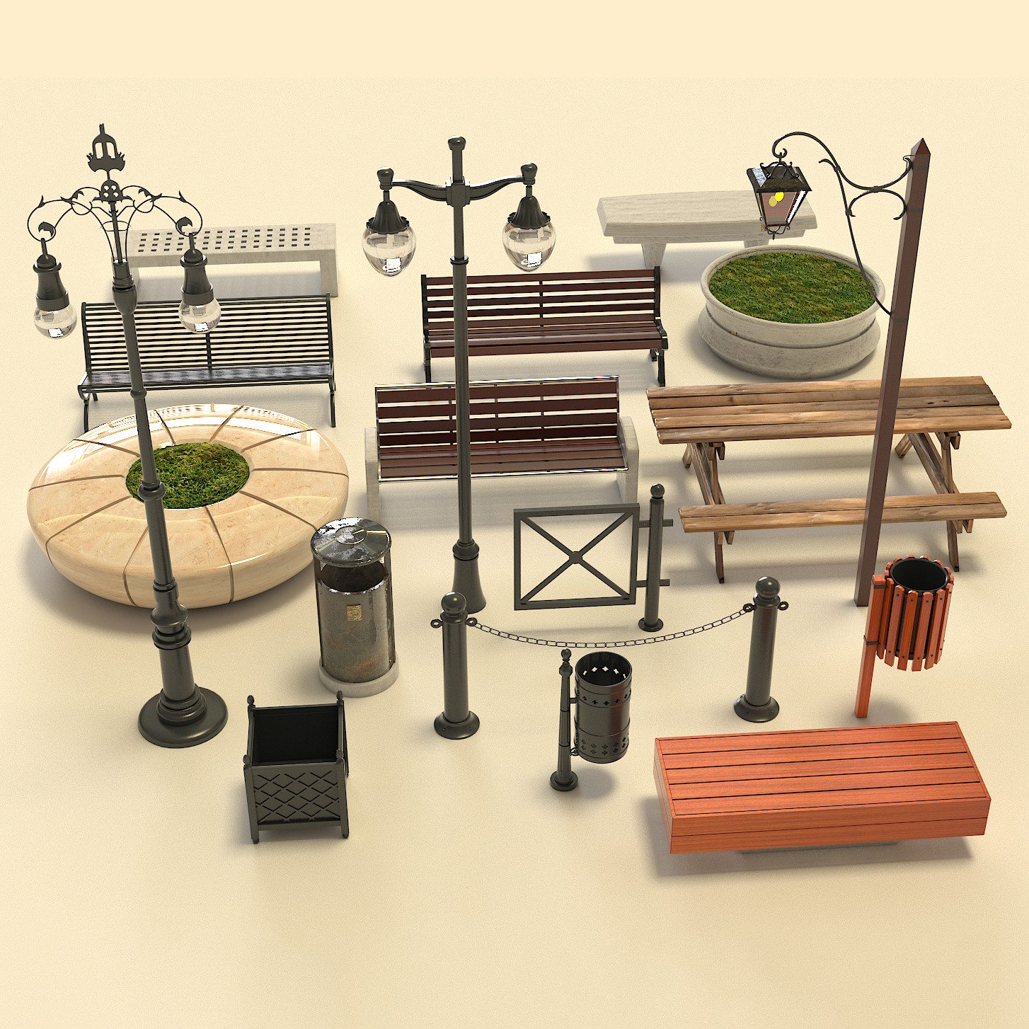 3D street furniture packed