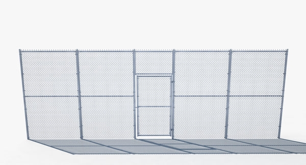 chain link fence gate 3D model