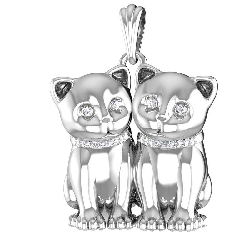 3D model jewelry pendant kitten