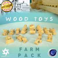 3D model wood toys farm pack