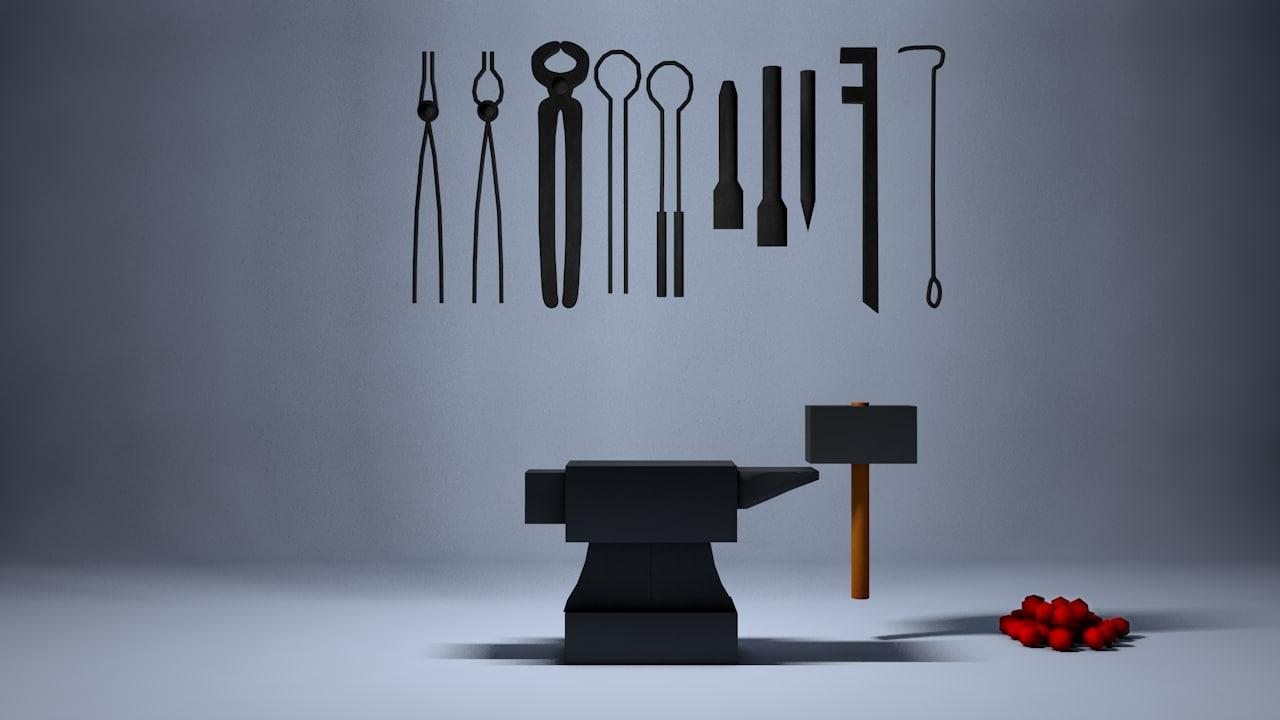 3D set blacksmith tools