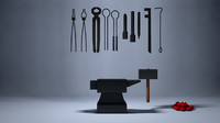 3D set blacksmith tools