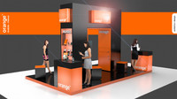 3D model orange mobile exhibition display stand