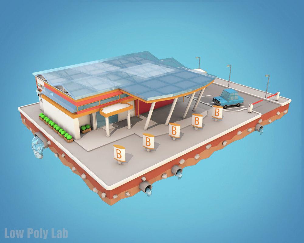 city block supermarket market model
