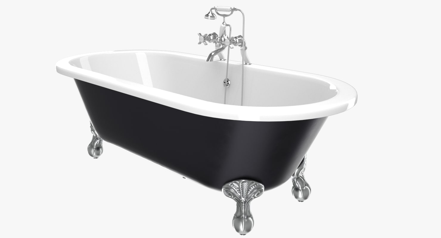 vintage bathtub buckingham black 3D