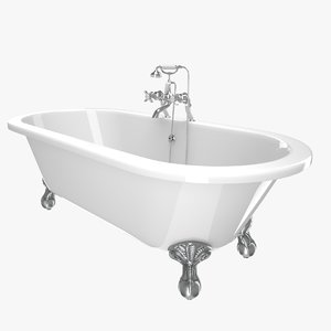 vintage bathtub buckingham white 3D model