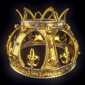 3D model gold crown