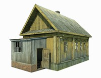abandoned wooden house model