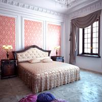 3D bedroom classic bed model