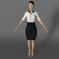 secretary girl cartoon 3D model