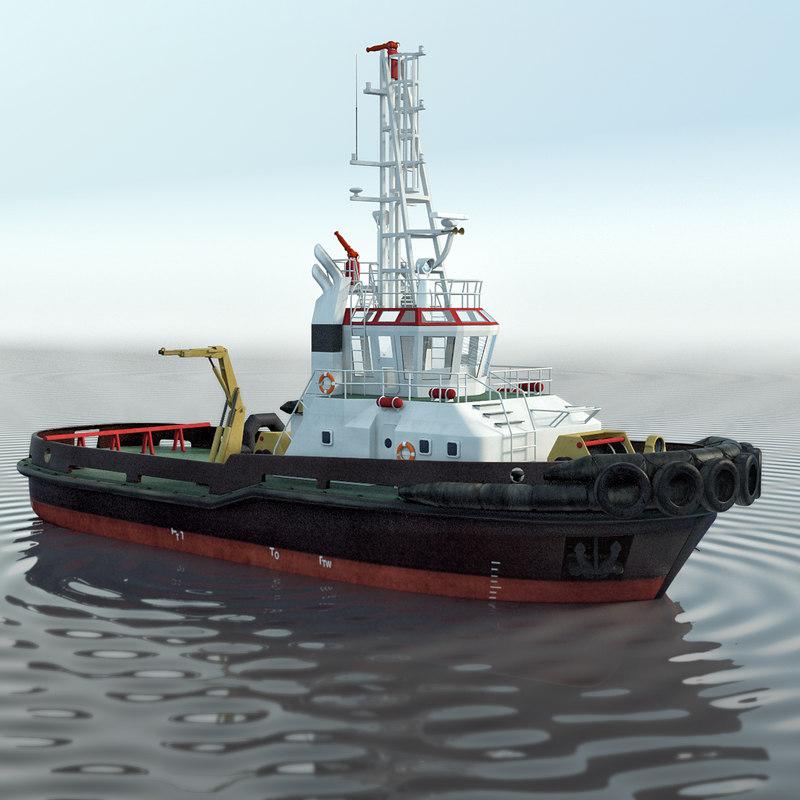 3D tugboat boat tug