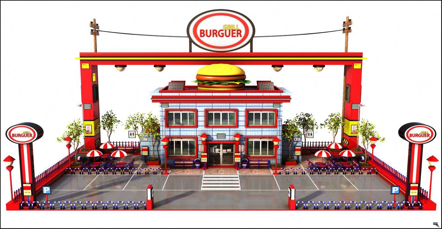 burguer restaurant 3D model