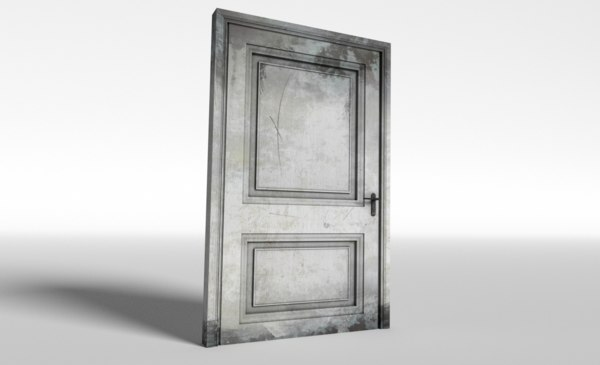 3D model low-poly old wooden door