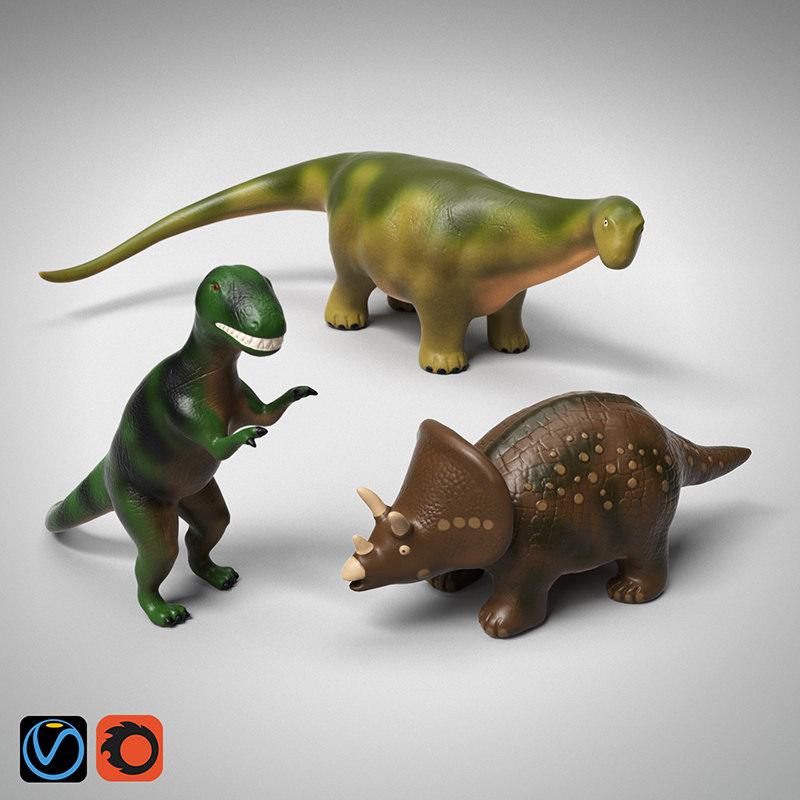 3D toy dinosaurs dinos