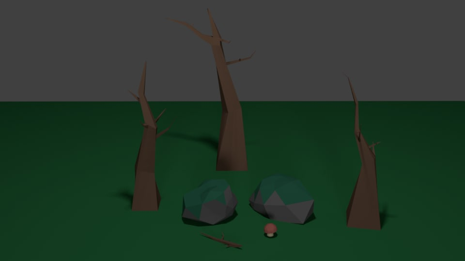 3D spooky environment pack trees model