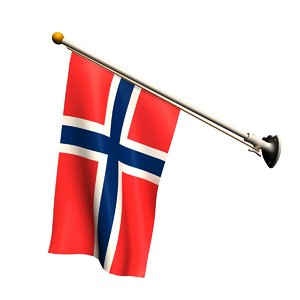 3D flag 70 degrees pole