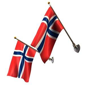 3D set flags pole