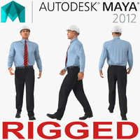 Construction Engineer in Hardhat Rigged for Maya