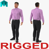 men business casual dress 3D model